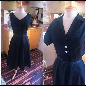 Vintage 1950s Dress 2 Pc Set Pinup Rockabilly